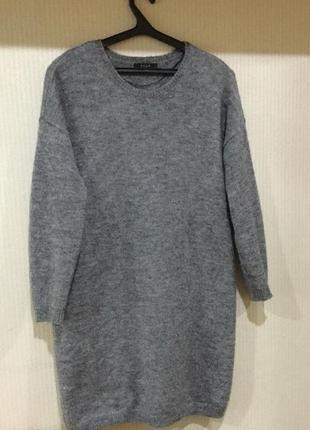 Платье- свитер  оверсайз , шерсть мохер