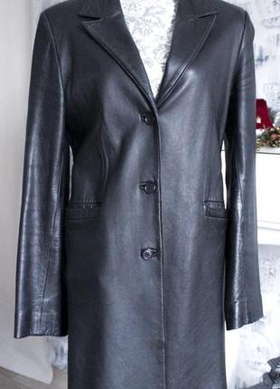 Натуральное кожаное классическое пальто от atelier