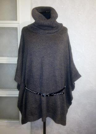 Тёплое вязаное пончо свитер меланж