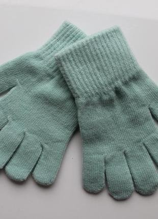 Мятные перчатки h&m на 1,5-4 и 4-8 лет