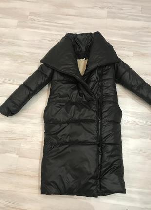 Пальто пуховик одеяло оверсайз теплое зимнее в стиле zara