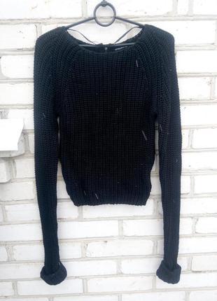 Укороченный свитер толстая вязка размеры xs и м