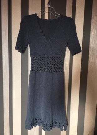 Вязанное теплое платье hand made