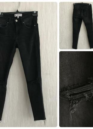Хитовые рваные джинсы  с необработанными краями ,оттенок граффит, s/36/8 mango