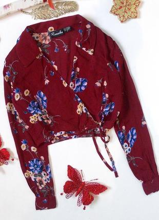 Цветочный кроп топ с длинным рукавом на запах блуза рубашка шифоновая