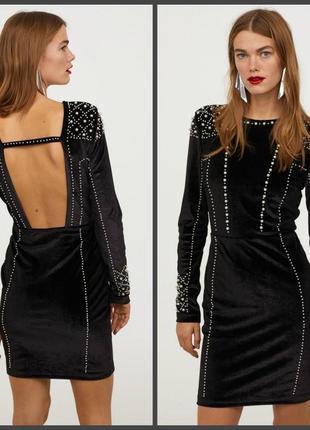 Невероятное платье из велюра с бусинами h&m (см.замеры)