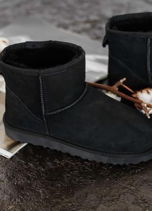 Шикарные женские зимние угги/ сапоги ugg classic mini black с натуральным мехом!