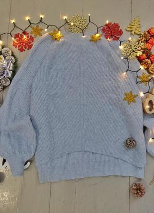 Актуальный нежный свитер с объемными рукавами с напуском 20% альпака №4