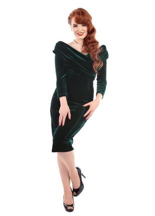 Новое фирменное вельветовое бархатное изумрудное платье