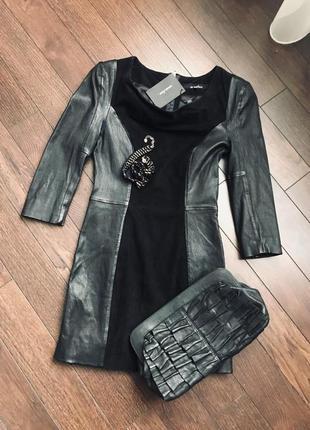 Безумно красивое маленькое черное платье из натуральной кожи и замши, с бирками, новое