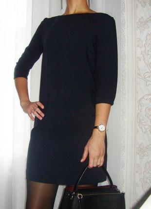 Классическое, темно-синее платье с рукавом 3/4.