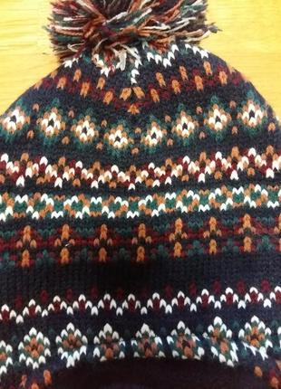 Теплая двойная шапка rebel  на флисовой подкладке на 3-7 лет