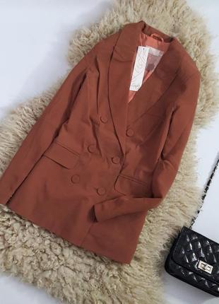 Пиджак блейзер кофейного цвета на пуговицах