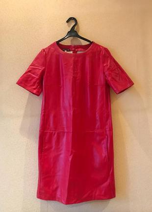 Красное кожаное платье эко футляр нарядное новый год вечернее новогоднее