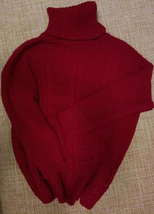 Актуальный вязаный свитер оверсайз крупная вязка