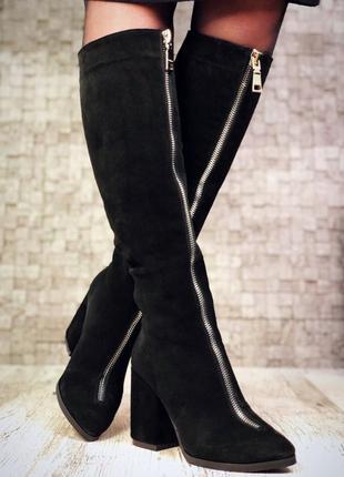 Замшевые зимние сапоги с молнией спереди на широком каблуке с узким носком. 36-40