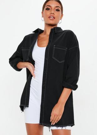 Черное джинсовое платье-рубашка оверсайз missguided