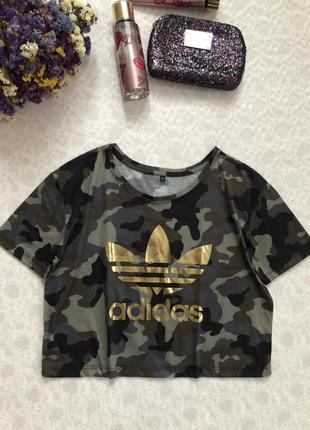 Adidas топ футболка короткая  милитари м - размер