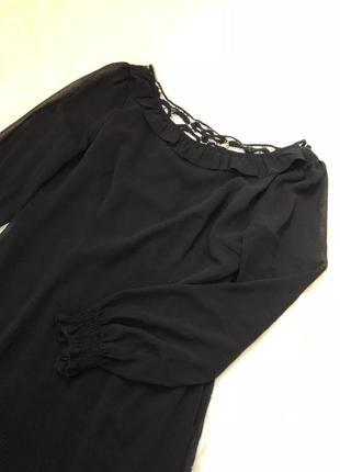 Шифоновое чёрное платье с шикарной спинкой madame