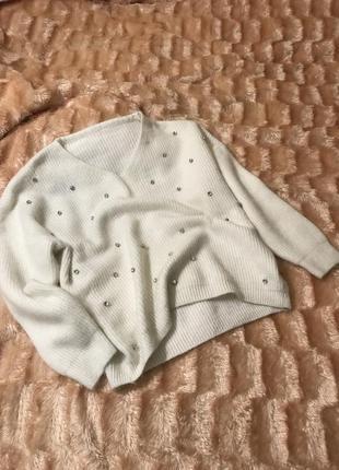 Белая кофта свитер ангора