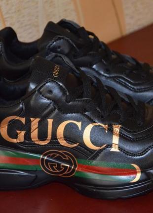Кожаные кроссовки gucci rhyton гуччи grandpa shoes кеды