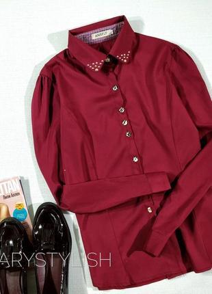Блузка цвет бордо с красивым воротничком