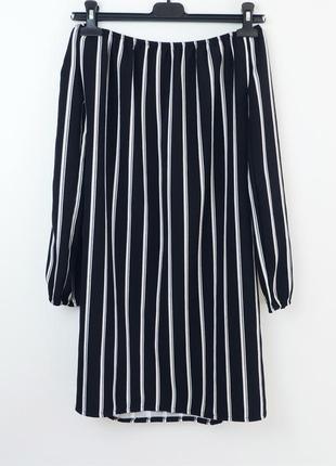 Платье с длинным рукавом в продольную полоску