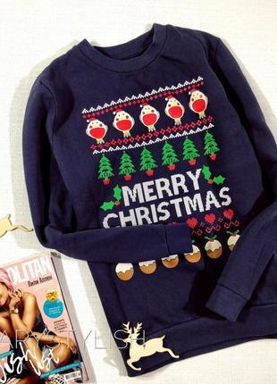 Свитшот merry christmas новогодний принт, рождественский