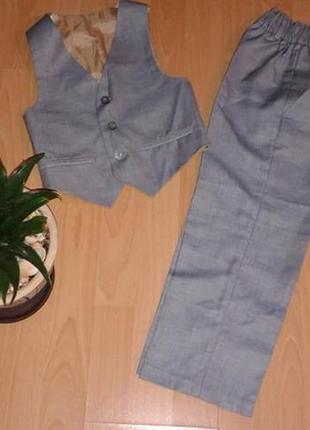 Костюм 2-ка novik (жилет +брюки) серого цвета в идеале на 116р.