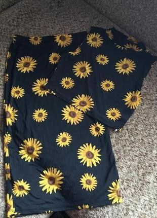 Костюм юбка +топ в подсолнухах