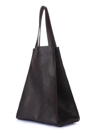 Повседневная кожаная брендовая сумка в тёмно-шоколадном цвете.