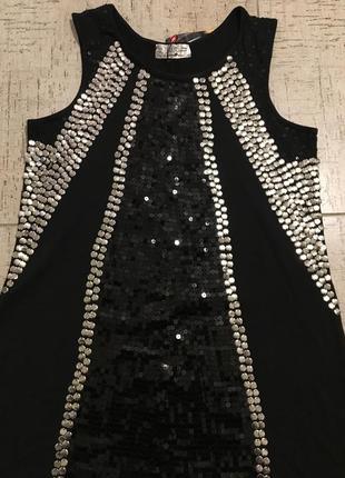 Туника платье новогоднее паетки клепки вискозное2 фото
