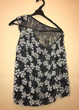 Нарядная блуза со стекляруса новогодняя новый год вечерняя блузка