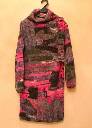 Яркое платье тёплое зимние под горло шерсть ангора