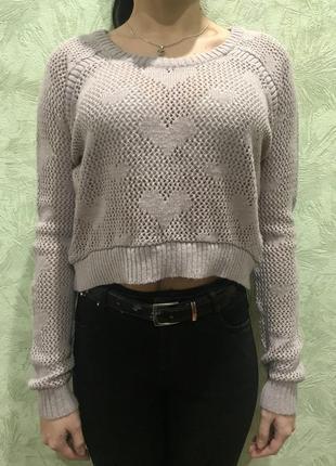 Женский укороченый вязаный свитер в дырочку
