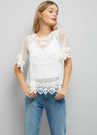Кружевная белая кофточка - блуза l - размер