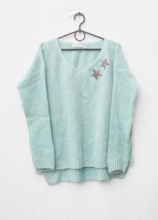 Бирюзовый вязаный 22% мохеровый 8% шерстяной свитер оверсайз с длинным рукавом