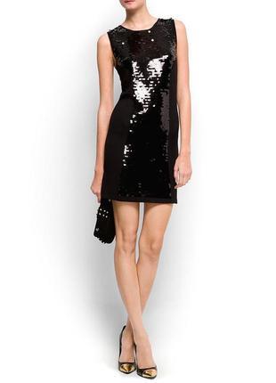 Брендовое черное вечернее нарядное миди платье mango паетки