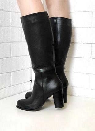 Сапоги, сапожки из натуральной черной кожи, на каблуке, высокие, шерсть, зимние, 36-40