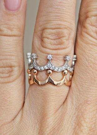 Серебряное кольцо медичи р.18,5 (комплект 2 колечка)