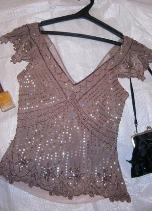 Великолепная праздничная блуза шифон шелк  c пайетками и стеклярусом