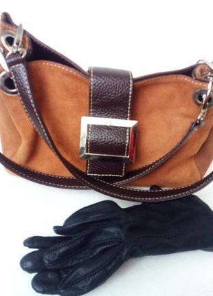 Замшевая сумку на руку/плечо