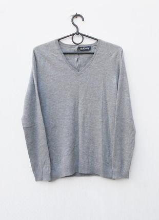 Серый осенний свитер шерсть + шелк  с длинным рукавом спинка на пуговицах