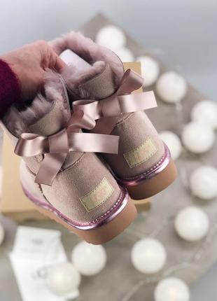 Шикарные женские зимние угги/ сапоги ugg australia mini bailey bow 2 pink мехом!