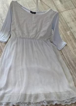 Платье  в паетках нежно-лавандовое.
