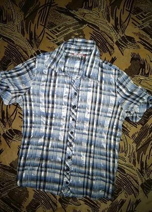 Красивая голубая блузка рубашка