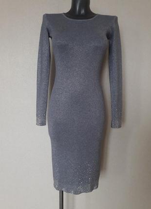 Эффектное,вечернее,качественное,25%кашемира,5%шерсти,люрексовое платье в микро-рубчик