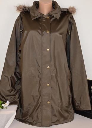 Брендовая утепленная куртка с меховым капюшоном и карманами style inc синтепон