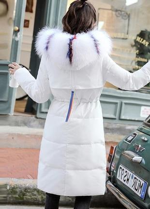 Натуральный белый зимний пуховик с опушкой из енота, пуховое пальто, курточка, утиный пух