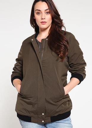 Брендовая утепленная куртка бомбер жакет на молнии с карманами new look мех цвет хаки